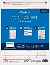 Adams W-2 Tax Forms Kit for 2019, 6-Part Inkjet/Laser Sets for 12, 3 W-3 Forms, 12 Peel & Seal Envelopes + Adams Tax Forms Helper Online (TXA12618)
