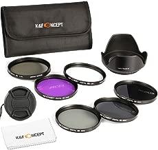 K&F Concept 58mm 6pcs FLD CPL UV ND2 ND4 ND8 Lens Accessory Filter Kit UV Protector Circular Polarizing Filter for Canon 600D EOS M M2 700D 100D 1100D 1200D 650D DSLR Cameras + Microfiber Lens Cleaning Cloth + Petal Lens Hood + Center Pinch Lens Cap + Filter Bag Pouch