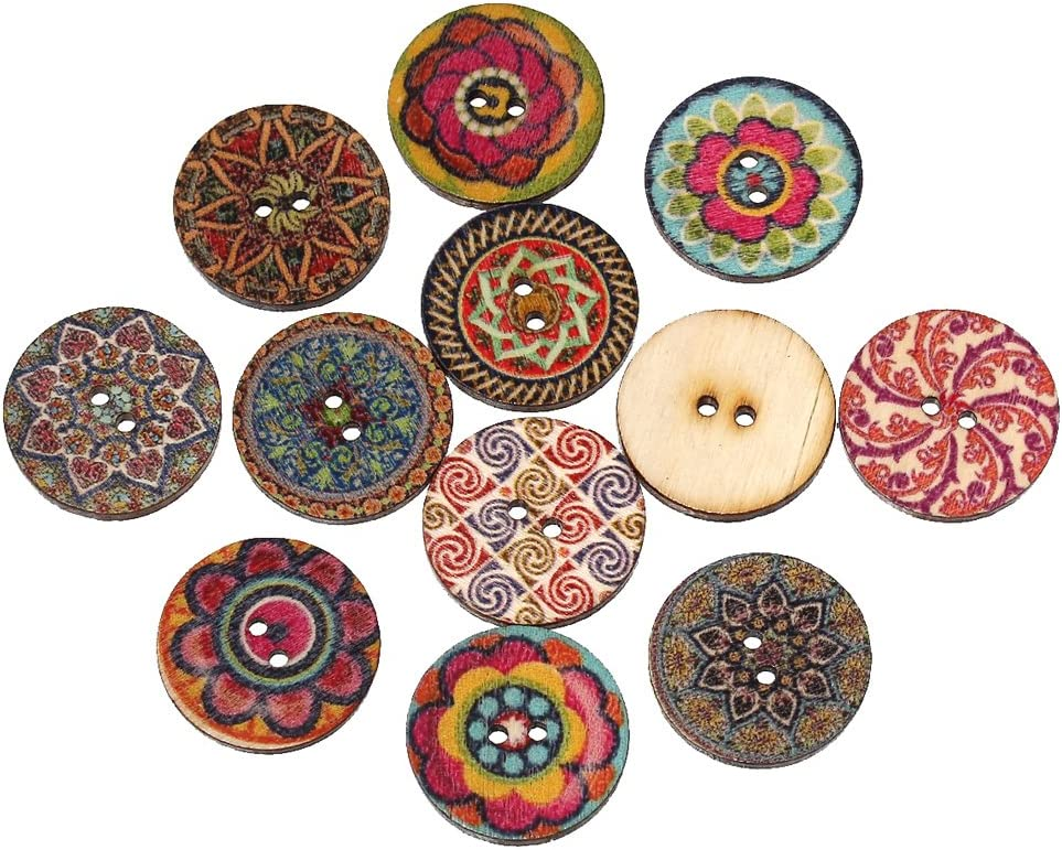 Souarts Mixed Random Shinning Round 2 Holes Wooden Buttons for S