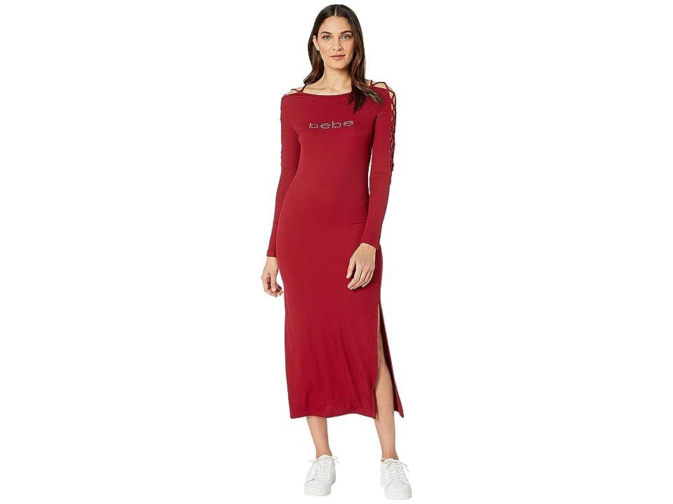 Bebe Logo Lace-Up Sleeve Midi Dress (Rhubarb) Women