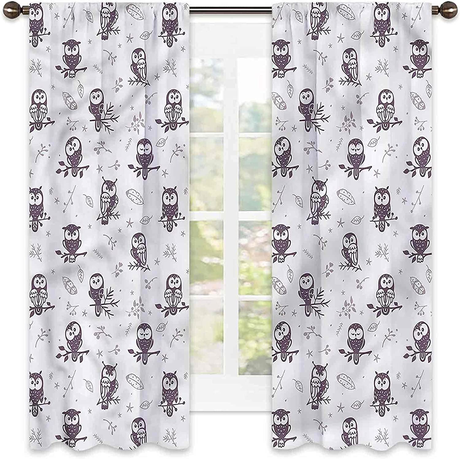 Doodle Rapid rise 90% Max 72% OFF Blackout Curtains Owls Rod-Sha Perching Branches on