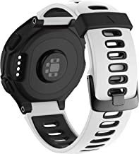 NotoCity Compatible with Forerunner 220 Watch Bands Black Buckle Sport Silicone Watch Strap Replacement for Forerunner 230/220/235/620/630/735XT Smartwatch (White-Black)