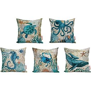 Ocean blue Animals Sea Turtle Octopus Seahorse Fish Cushion Cover Pillow case