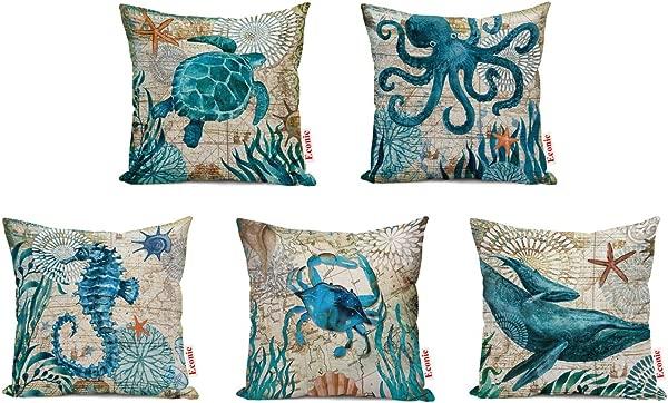 ECONIE Ocean Part Theme Throw Pillow Case Octopus Sea Turtle Dolphin Crab Sea Horse Animal Cotton Linen Suare Pillow Cushion Cover Decorative 18 X18 Inch Set Of 5