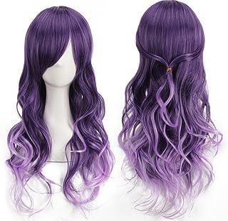 AneShe Harajuku Cosplay Wig Ombre Purple Long Curly Synthetic Hair Halloween Wig