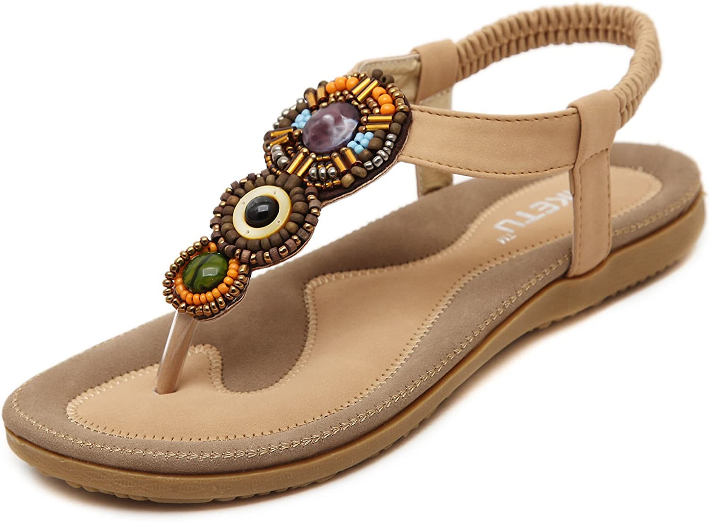 DQQ Women's Vintage Beaded T Strap Thong Sandal