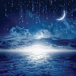 AIIKES 10x10FT Moon Stars Meteors Cloudy Sky Night Scenery Baby Photography Backgrounds Custom Photographic Backdrops for Photo Studio 11-422