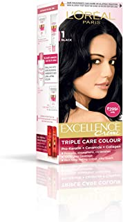 L'Oreal Paris Excellence Hair Color Small Pack No.1, Natural Black, 24ml+26g
