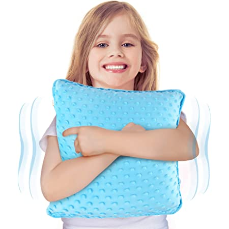 """Special Supplies Vibrating Pillow Sensory Pressure Activated for Kids and Adults, 12"""" x 12"""" Plush Minky Soft Cover with Textured Therapy Stimulation Bumps, Blue"""