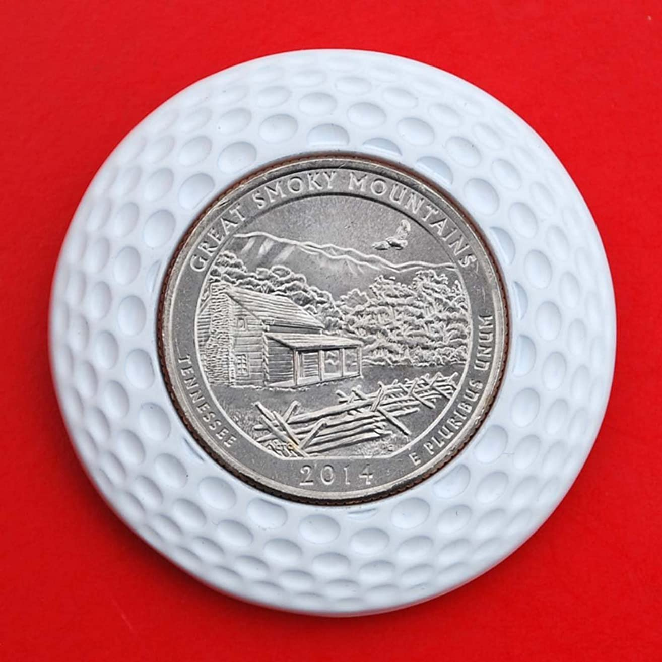 US 2014 Tennessee Great Smoky Mountains National Park Quarter BU Uncirculated Coin 3D Design 4 Leaf Clover Removable Golf Ball Marker Magnetic Poker Chip - America the Beautiful