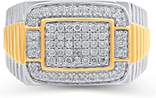 Jewelili Yellow Gold over Sterling Silver 1/2 Cttw Natural White Round Diamonds Men Ring