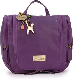Catwalk Collection - Ladies Luxury Leather Hanging Travel Wash Bag - Cosmetic Make-up Organiser - Toiletry Overnight Bag - MAISE - Purple