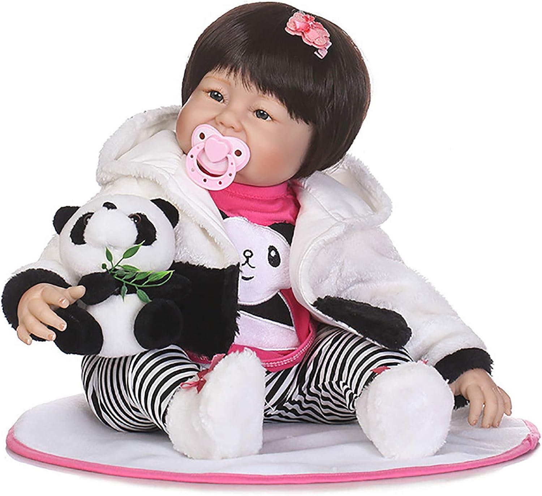 LBHE 22 Zoll 56cm Lebensechte Reborn Babypuppe Vinyl Weichen Krper Neugeborenen Mdchen Puppen Geflschte Babys Magnetischen Mund mit Panda Spielzeug Kinder