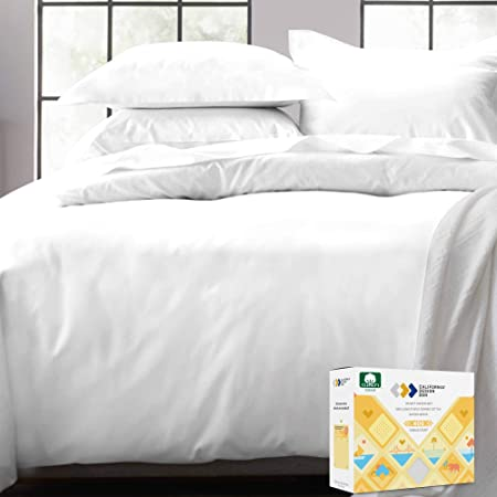 Pure White Duvet Cover King - 400 Thread Count 100% Cotton, 3 Piece Sateen Weave Bedding Set, Soft Luxury Comforter Cover and Two Pillow Shams, with Button Closure and Corner Ties