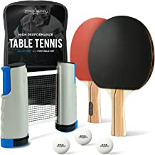 All-in-ONE Ping Pong Set - Includes Ping Pong Net for Any Table, 2 Paddles/Rackets, 3 Pro Training Balls, Premium Storage Case | Portable Table Tennis Set with Retractable Net