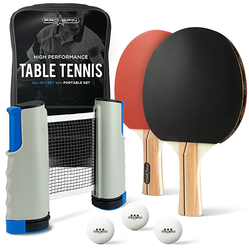 ALL-IN-ONE Ping Pong Paddle Set - Includes PLAY ANYWHERE Ping Pong Net for ANY Table, 2 Paddles/Rackets, 3 Pro Balls, Premium Storage Case | Portable Table Tennis Set with Retractable Table Tennis Net