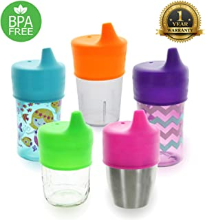 Healthy Sprouts Silicone Sippy Lids (5 Pack) - Lab Tested, Spill Proof, BPA Free, Universal Soft Spout Stretch Tops - Make Any Kid Size Cup a Sippy Cup for Toddler, Baby, Infant (Purple, Pink, Green)