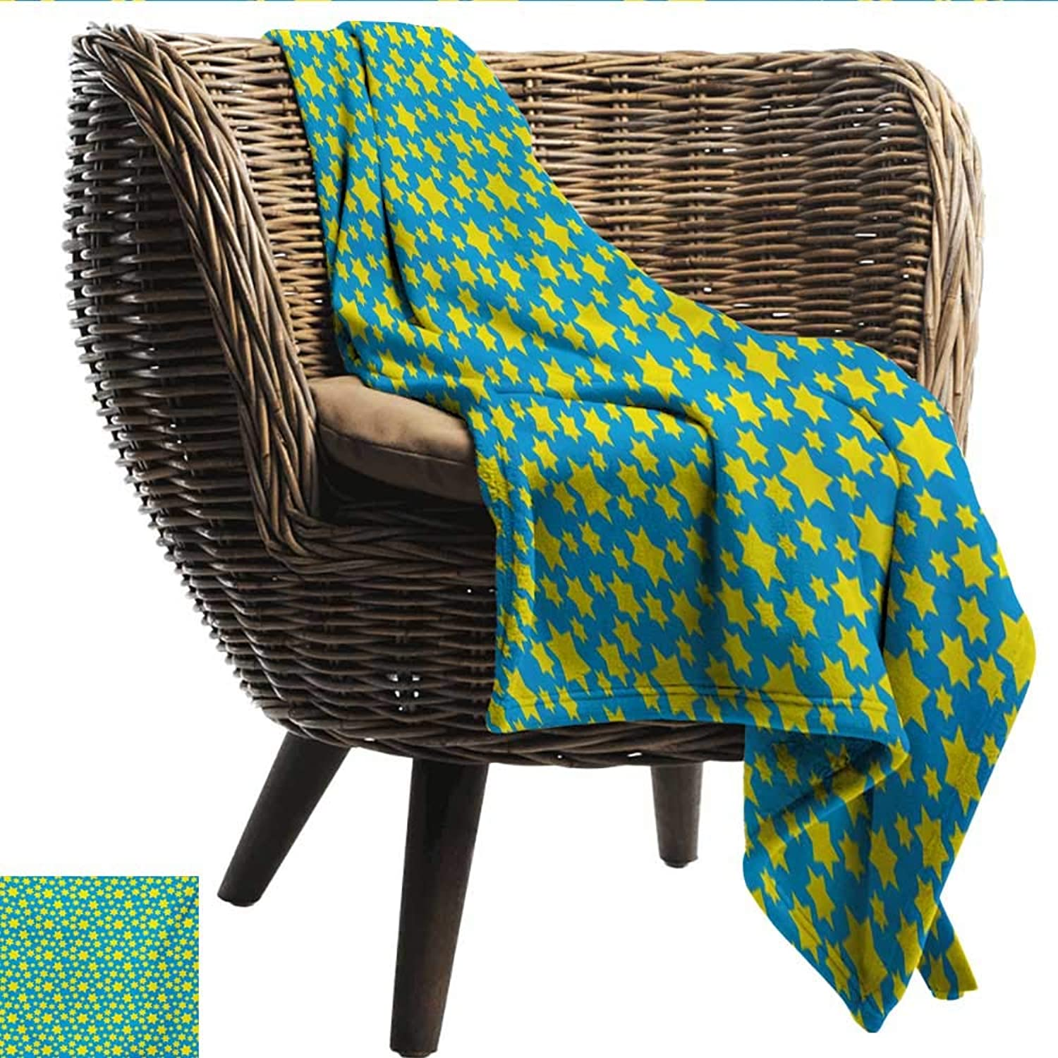 Anshesix Throw Blanket Yellow and bluee Stars Motif in Various Size Spiritual with Kids Effects Cute Design Super Soft W60 xL51 Sofa,Picnic,Camping,Beach,Everyday use