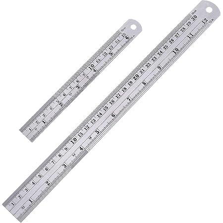 Lot de 2 règles droites en acier inoxydable de 15 et 30 cm - Outil de mesure pour le bureau, l'apprentissage du dessin.
