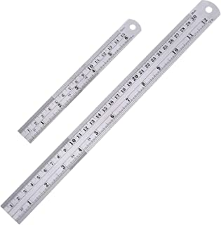 2 Pack Straight Rulers, Stainless Steel 6 and 12 Inches(15 and 30cm) Measuring Ruler Tool