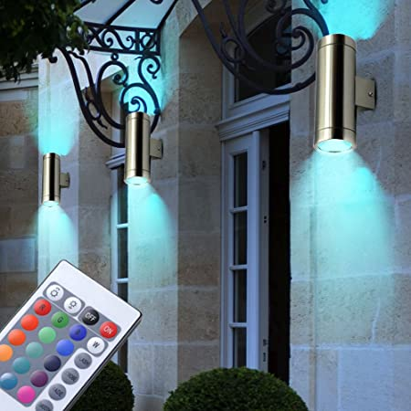 RGB LED Up Down Wand Leuchte Veranda Fernbedienung Fassaden Außen Big Light