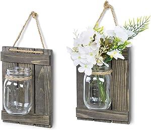 MyGift Decorative Farmhouse Style Wall Hanging Mason Jar Planter Vase with Rustic Gray Wood Rack, Set of 2