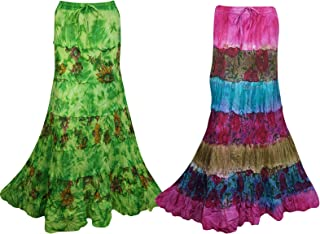 Mogul Interior 2pc Womens Maxi Skirt Gypsy Tie Dye Flare Drawstring Casual Boho Flare Skirts M/L Green,Pink