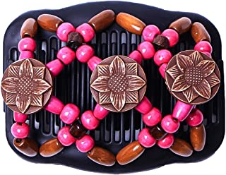 Vintage Women Tribal Magic Hair Comb Elastic Double Bead String Clamp Stretchy Acces Elasticity Hairpin (Color : Rose Red)
