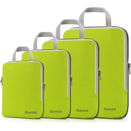 Gonex Compression Packing Cubes, 4pcs Expandable Storage Travel Luggage Bags Organizers (Green)