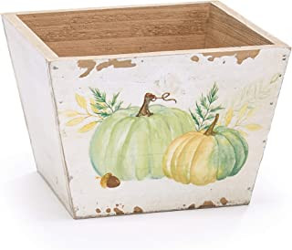 Pumpkin Sage Green and Cream 6 x 6 Distressed Wood Harvest Standing Planter