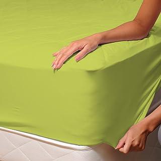 SoulBedroom Vert Drap Housse 100% Coton Linge de lit, Uni Couleur, 2 Personnes - 140x190 cm