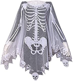 Halloween Costumes for Women Lace Skeleton Poncho Plus Size 57x57 inch White