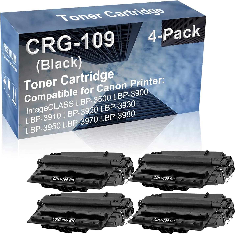4-Pack Compatible High Capacity LBP-3920 LBP-3930 LBP-3950 Printer Toner Cartridge Replacement for Canon CRG109 CRG-109 Toner Cartridge (Black)