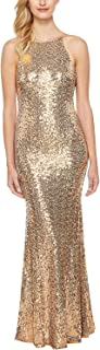 Women's Sparkly Sequin Plunge Backless Sleeveless Bodycon Maxi Prom Dress