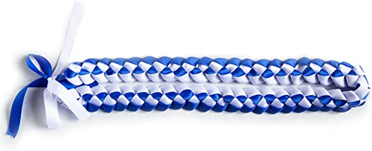 Ribbon Lei - Braided Necklace - Royal Blue & White