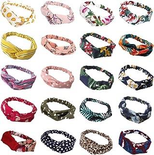 20 Pack Women Headbands with Twist Knot Boho Flower Print Criss Cross Head Wrap Elastic Hair Band