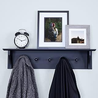 Ballucci Floating Coat and Hat Wall Shelf Rack, 5 Pegs Hook, 24