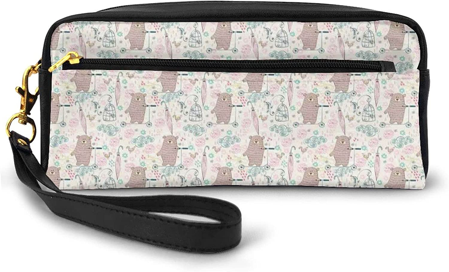 Pencil Case Big Capacity,Cartoon Bear On A Scooter Childish Kids Design Illustration Flowers And Birds,Pen Bag with Zipper Bag for Boy Girl