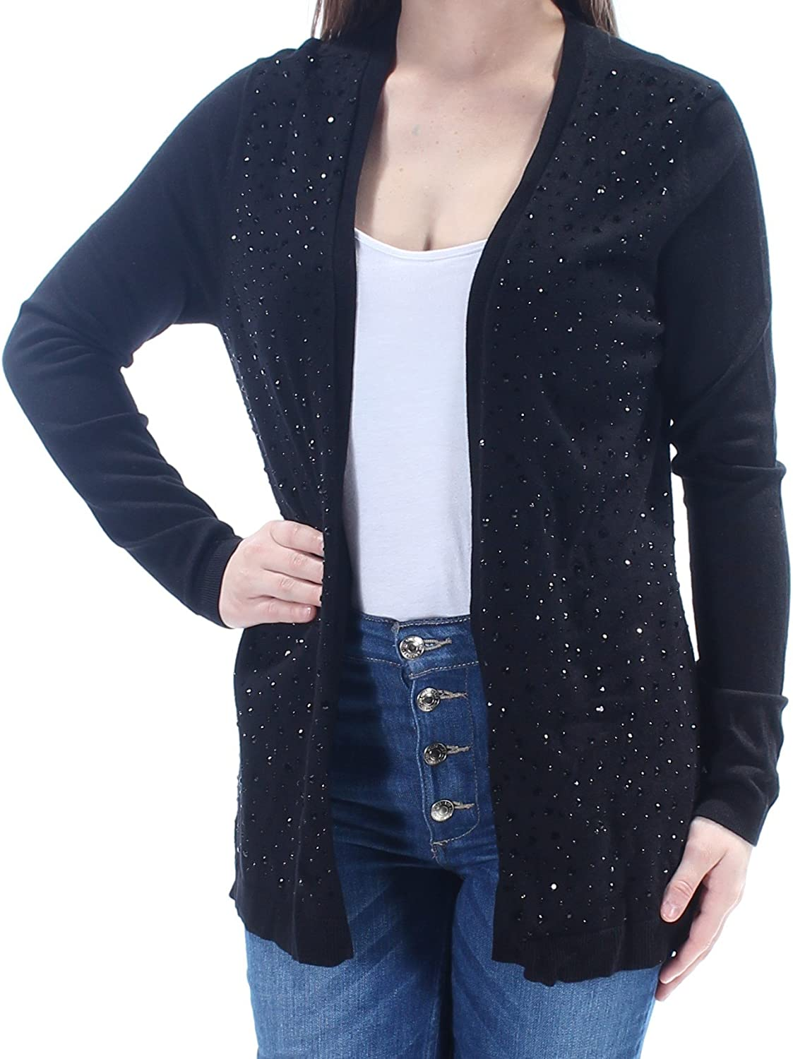 Charter Club Petite Embellished Open-Front Cardigan