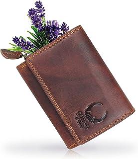 Corno d´Oro Monedero pequeño de piel para mujer I Monedero delgado con protección RFID I Mini hombre I Monedero en caja de...