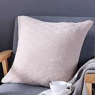 ChezMax Diamond Pattern Throw Pillow Handwoven Knit Cotton Pillow Square Decorative Cushion for Bed Couch Home Decor 18 X 18 inches Beige