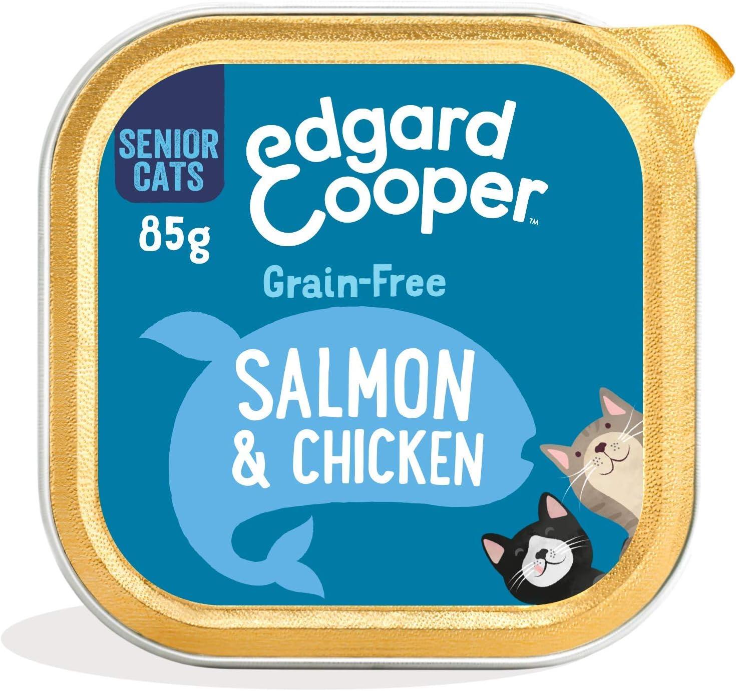 Edgard & Cooper Comida humeda Gatos Senior sin Cereales, Natural con Pollo y Salmón Frescos. Comida Sana Rica en nutrientes y antioxidantes Naturales. Pack tarrinas de 19x85gr