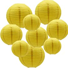 ADLKGG Round Hanging Paper Lanterns Decorations for Party Wedding Birthday Baby Showers Supplies, Yellow 12'', 10'', 8'', 9 Pack