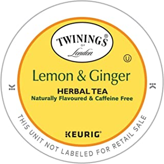 Twinings Lemon and Ginger Herbal Tea, Keurig K-Cups, 48 Count