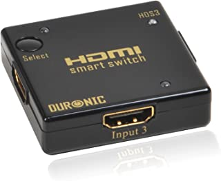 Duronic HDMI Auto Switch Mini 3 Port Gold HDS3 Piano Black 3x1 (3 Way Input 1 Output HDMI Switcher)