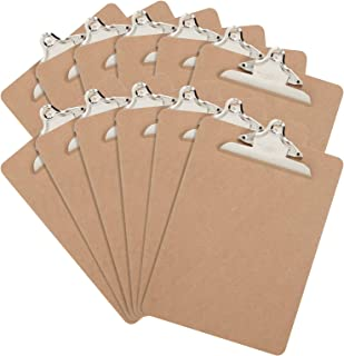 12 Hardboard Clipboards, Classic Metal Clip, Design for Classroom and Office Use, 12 Clipboards