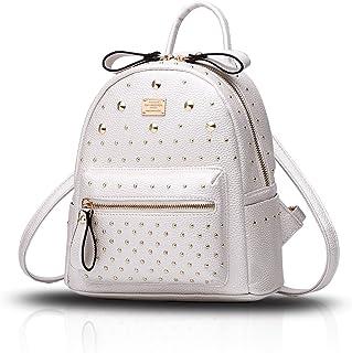Tisdaini® Damen Rucksackhandtaschen modische PU Leder Reise Freizeit Schulrucksack Weiß