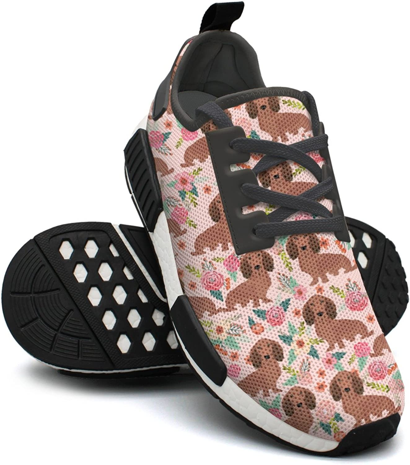 Ktyyuwwww Women Girls colorful Camping Pink Dachshunds Dog Floral Novelty Fashion Running shoes