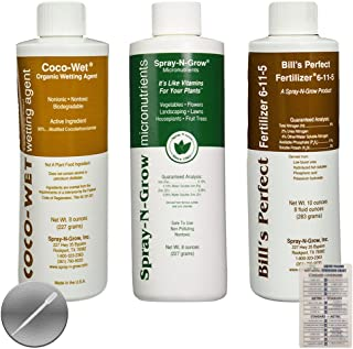 Coco-Wet Organic Wetting Agent, Spray-N-Grow Micronutrients & Bill's Perfect Fertilizer (Pack of 3-8 oz Bottles) + Twin Canaries Chart & Pipette