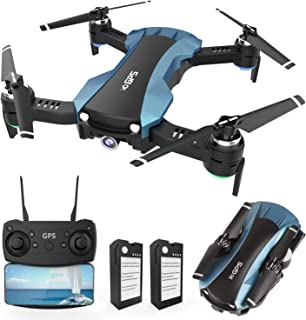 GPS Drone with 1080p Camera 5G WiFi FPV RC Quadcopter for Adults Auto Return Home Function Follow Me with 2 Batteries Foldable Drones for Beginners